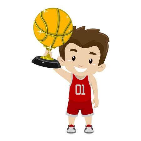 Vector Illustration des Kinderjungen, der Goldbasketball-Trophäe hält