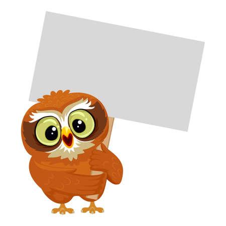 proclamation: Vector Illustration of an Owl holding blank Placard Illustration