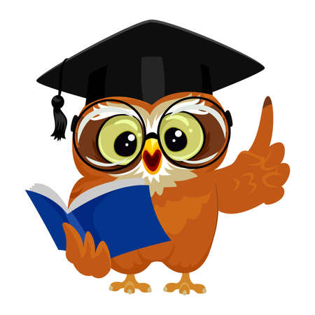 reciting: Vector Illustration of an Owl wearing graduation cap while reading book