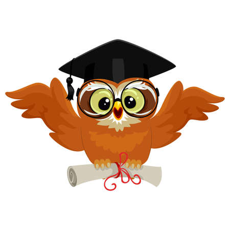 Vector Illustration of an Owl wearing graduation cap and holding diploma while flying