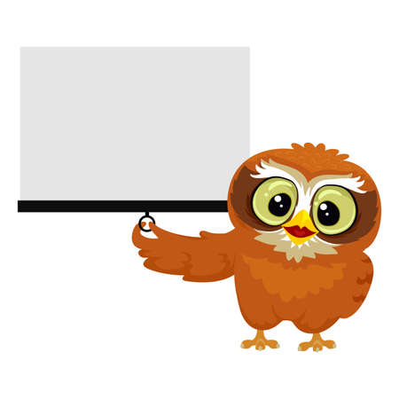 projection screen: Vector Illustration of an Owl holding white Blank Projection Screen Illustration