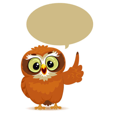 taught: Vector Illustration of an Owl with Speech Bubble