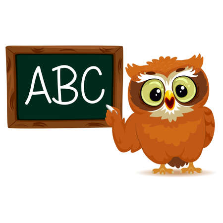 scholarly: Vector Illustration of an Owl as a teacher