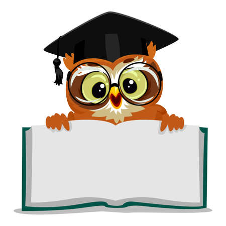 reciting: Vector Illustration of an Owl showing an Open Empty Book