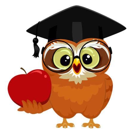 brainy: Vector Illustration of an Owl holding an Apple Illustration
