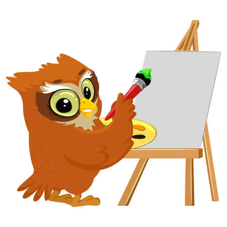 geeky: Vector Illustration of an Owl Painting on a Blank Canvas