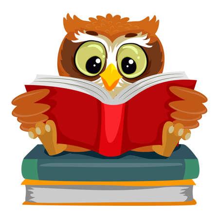 本の上に座って読むフクロウのベクトル イラスト