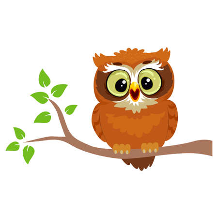 Vector Illustration of an Owl sitting on a Tree Branch Illustration