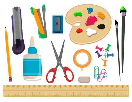 Ilustración del vector del conjunto de útiles escolares