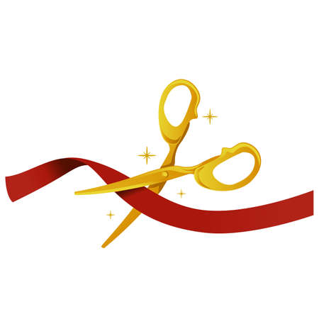 Vector Illustration of Gold Scissor cutting red Ribbon