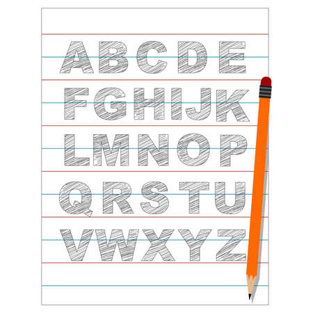 all caps: Vector Illustration of Set of Uppercase sketch alphabet written in paper