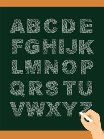 all caps: Vector Illustration of Hand writing Set of Uppercase Alphabet in Chalkboard Illustration