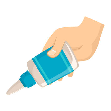 Vector Illustration of Hand holding Glue
