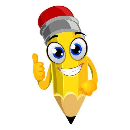 handsign: Vector Illustration of Pencil Mascot doing OK hand sign Illustration