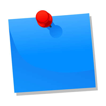 notice: Vector Illustration of Blank Blue Paper Note with Push Pin Illustration