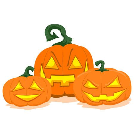 Vector Illustration of three Halloween Pumpkin Display