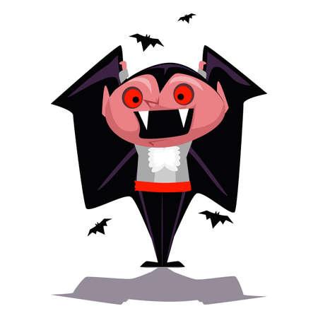 Vector Illustration of Cartoon Vampire Character Illustration