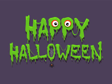 yuck: Vector Illustration of Happy Halloween Message Greetings