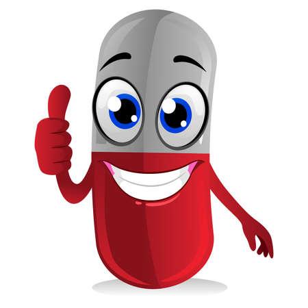 cure: Vector Illustration of Capsule Mascot Doing Ok hand Sign Illustration