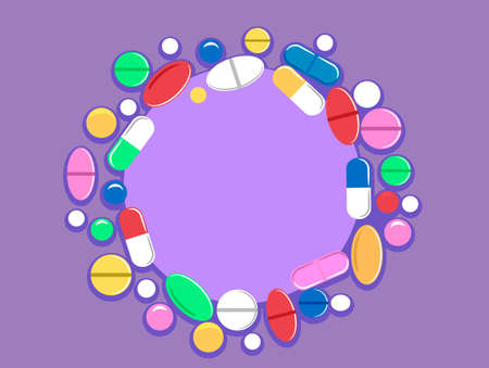 Vector Illustration of Pills Tablet as Background