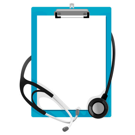 Vector Illustration of Stethoscope on Blank Paper Clipboard