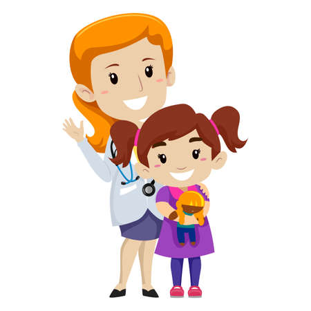 Vector Illustration of Female doctor with her Kid Patient