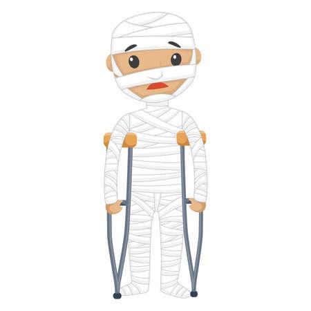 Vector Illustratie van de gewonde patiënt met Verbanden