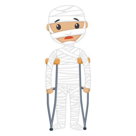 injured: Vector Illustration of Injured Patient with Bandages