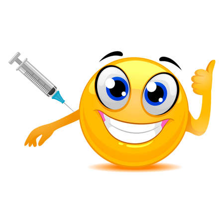 Vector Illustration of Smiley Emoticon Happily Taking a Vaccine