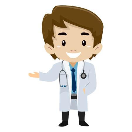 Vector Illustration of Male Kid wearing a Doctor Uniform Vettoriali