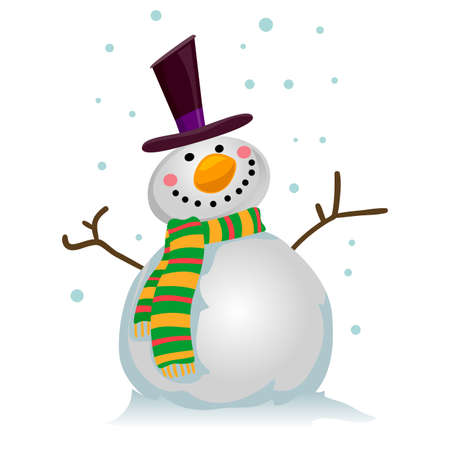Illustration of a Snowman on snowy background