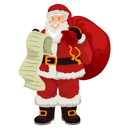 Illustration of Santa Claus holding List while carrying Bag