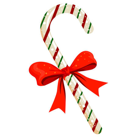 Illustration of Candy Cane with Red Ribbon Illustration