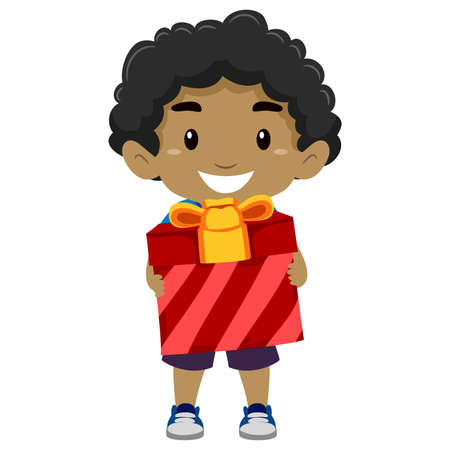 Illustration of a Black Boy Holding a Gift Illustration