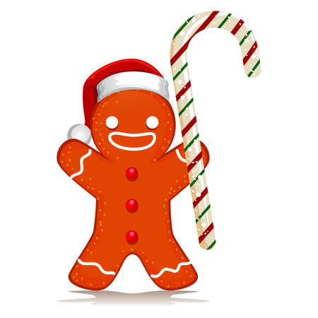 Illustration of Gingerbread Santa holding Candy Cane