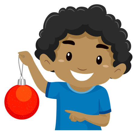 Illustration of Black Boy Holding a Red Christmas Ball