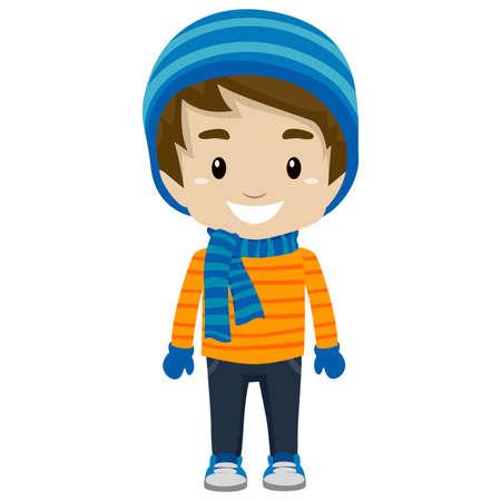 冬の服を着ている男の子のイラスト