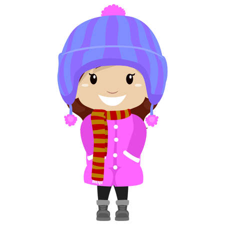 Illustration of Little Girl wearing Winter Clothes