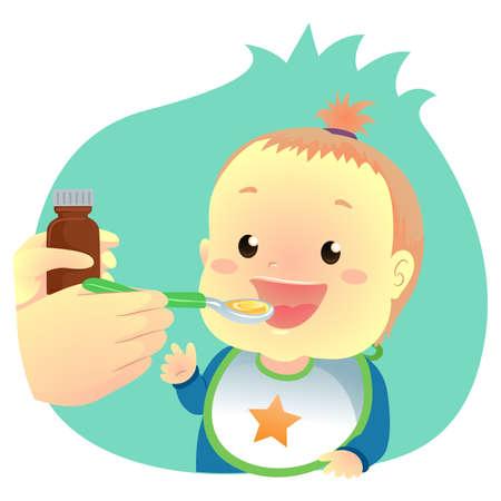Illustration of Baby drinking Medicine Syrup