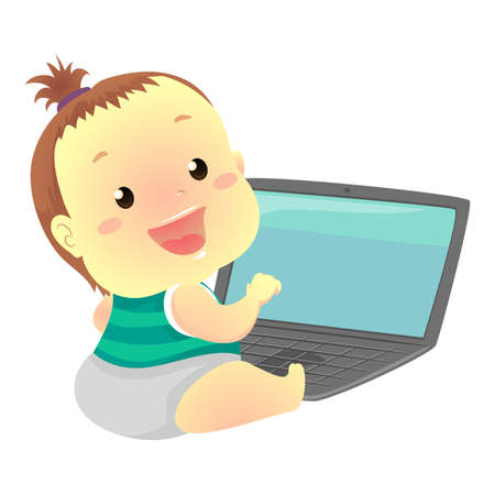 Illustration of a Baby In front of Laptop