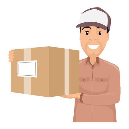 Illustration of Delivery Man holding a Box Illustration