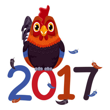 Vector Illustration of Rooster standing on 2017