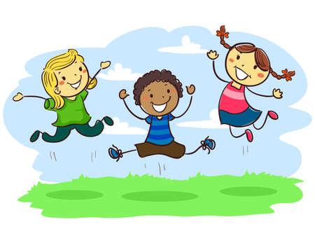 pre teen: Vector Illustration of Stick Kids Jumping together