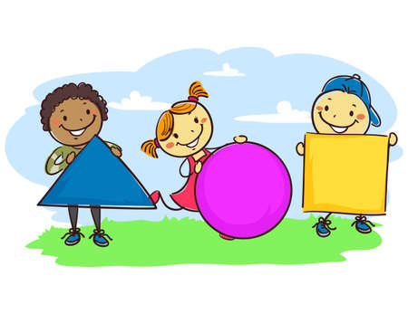 playmates: Ilustraciones Vectoriales de Stick Kids Holding diferentes formas geométricas
