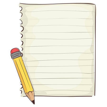 note pad: Vector Illustration of Blank Piece of Paper and Pencil
