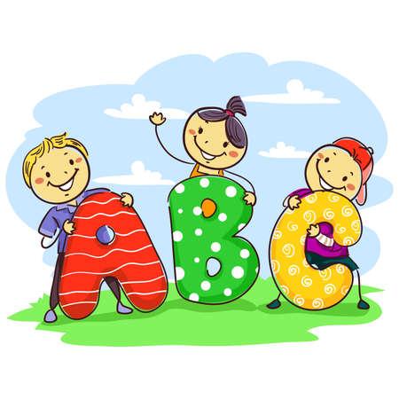 pre teen: Vector Illustration of Stick Kids Holding ABC Standee Illustration