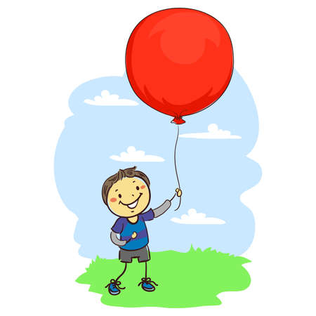 pre teen: Vector Illustration of Stick Kid Boy Holding a Big Red Balloon