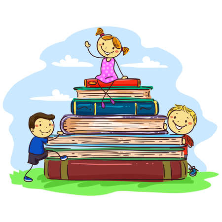 Vector Illustration of Stick Kids sitting on Pile of Books Ilustração
