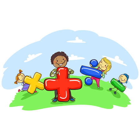 pre teen: Vector Illustration of Stick Kids Holding Mathematical Symbol