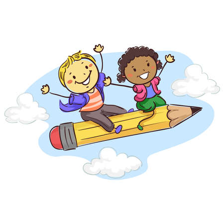Vector Illustration of Stick kids sitting on a Flying Pencil